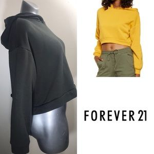 (FOREVER 21) Green Cropped Bow Hooded Sweatshirt